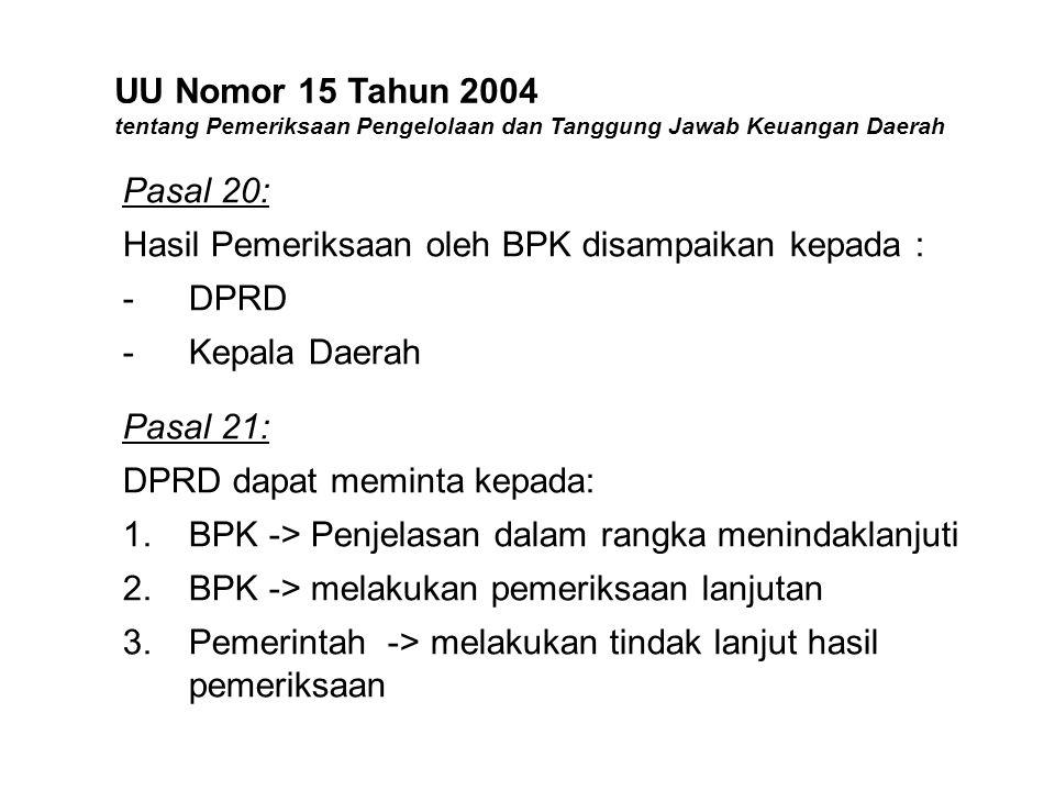UU Nomor 15 Tahun 2004 tentang Pemeriksaan Pengelolaan dan Tanggung Jawab Keuangan Daerah