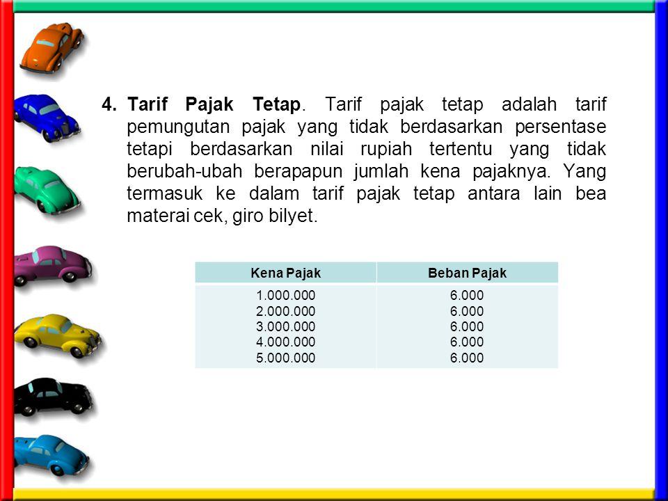 4. Tarif Pajak Tetap. Tarif pajak tetap adalah tarif pemungutan pajak yang tidak berdasarkan persentase tetapi berdasarkan nilai rupiah tertentu yang tidak berubah-ubah berapapun jumlah kena pajaknya. Yang termasuk ke dalam tarif pajak tetap antara lain bea materai cek, giro bilyet.