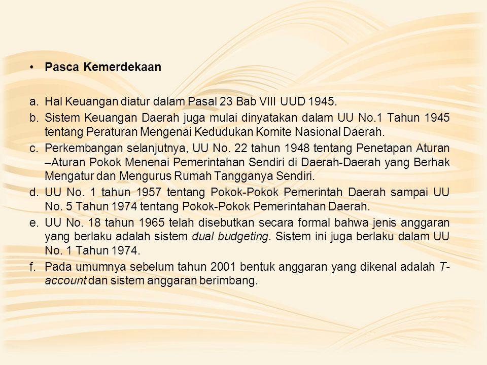 Pasca Kemerdekaan Hal Keuangan diatur dalam Pasal 23 Bab VIII UUD 1945.