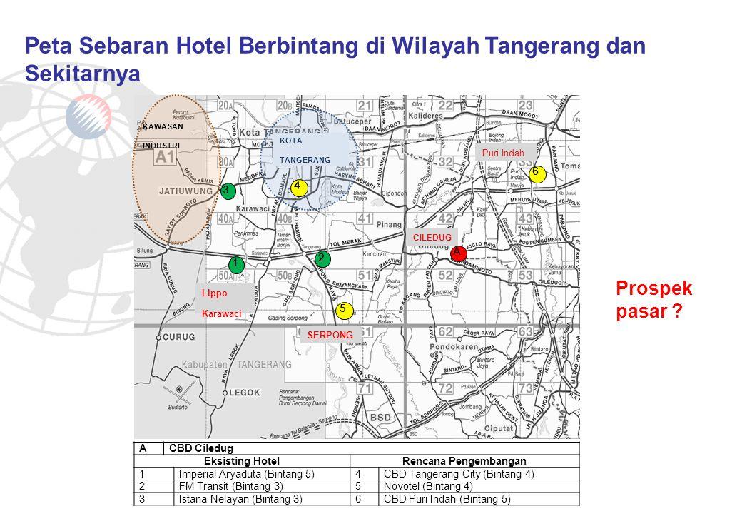 Peta Sebaran Hotel Berbintang di Wilayah Tangerang dan Sekitarnya