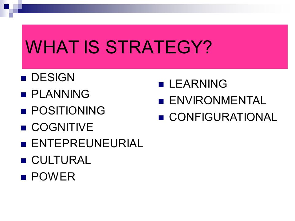 WHAT IS STRATEGY DESIGN PLANNING LEARNING ENVIRONMENTAL POSITIONING