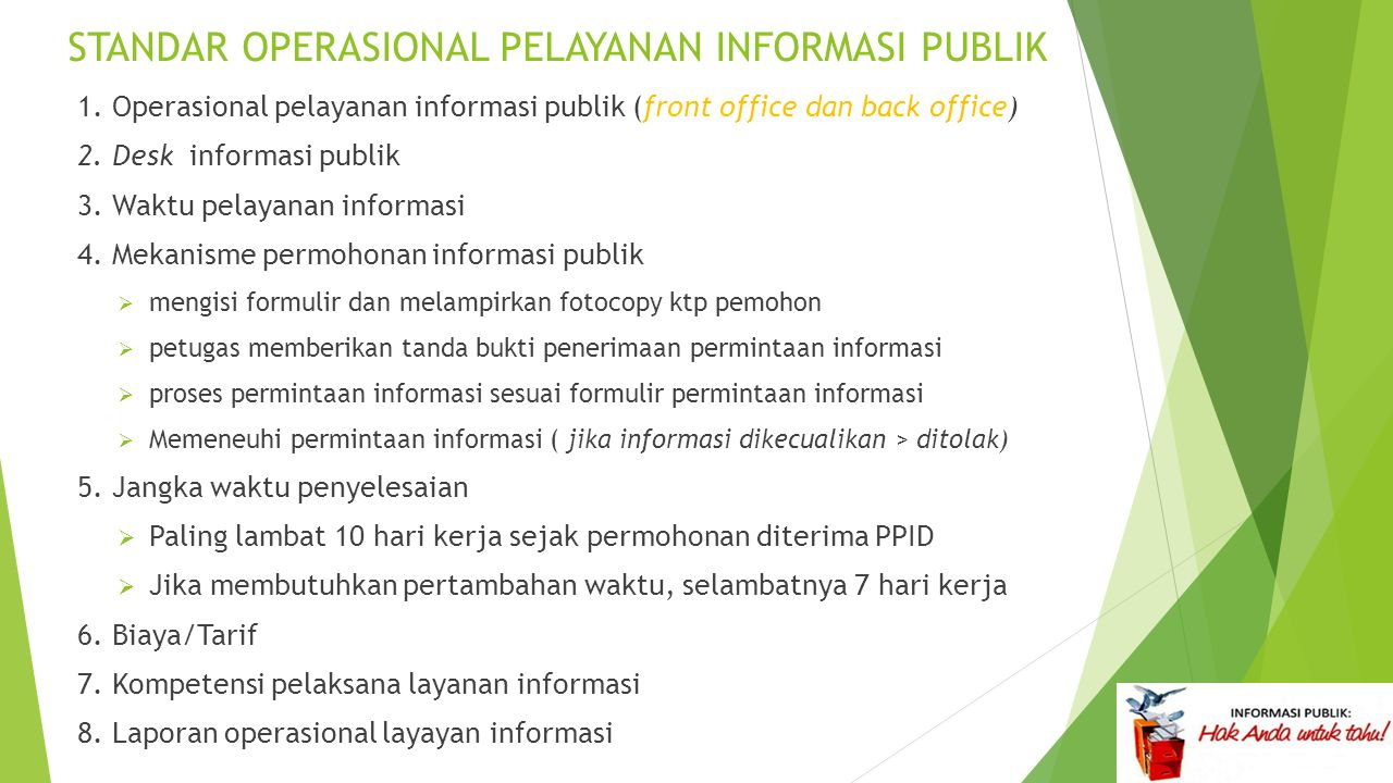 STANDAR OPERASIONAL PELAYANAN INFORMASI PUBLIK