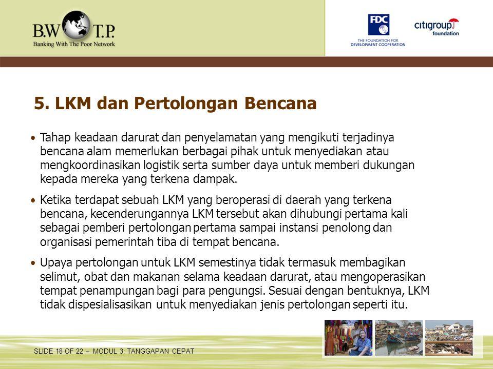 5. LKM dan Pertolongan Bencana