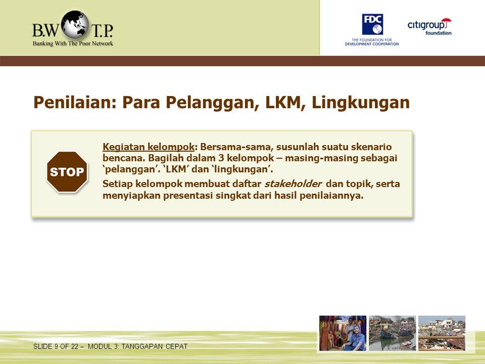 Penilaian: Para Pelanggan, LKM, Lingkungan
