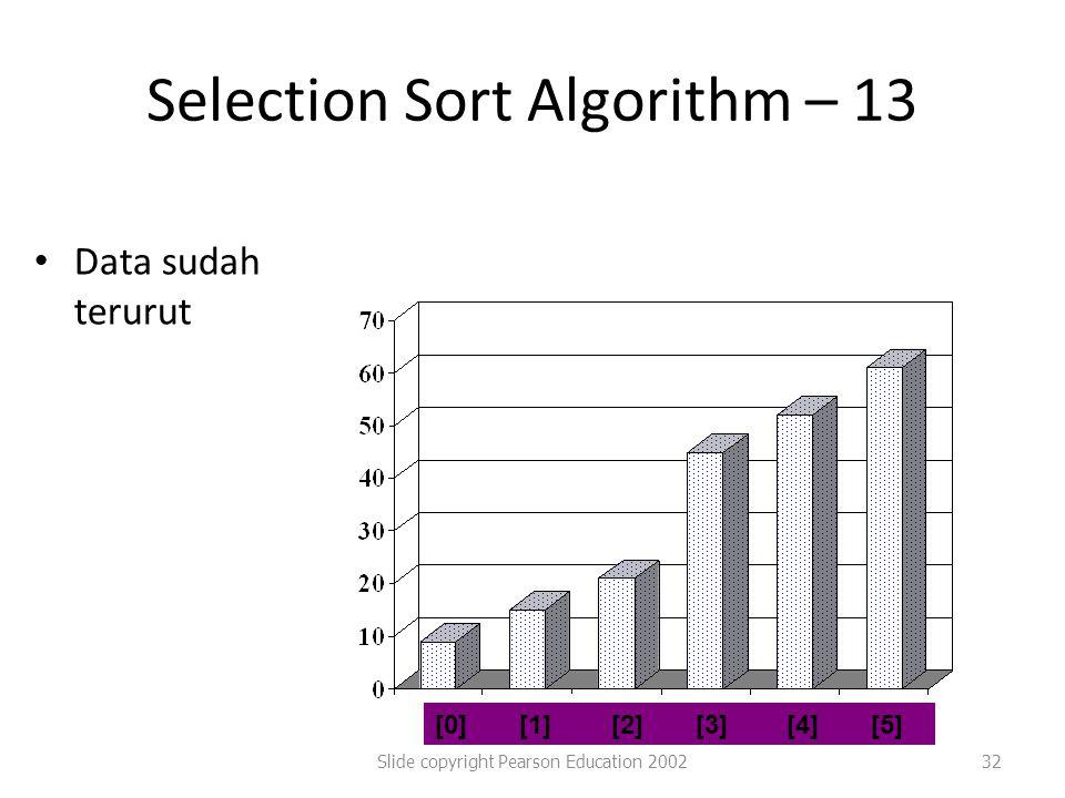 Selection Sort Algorithm – 13