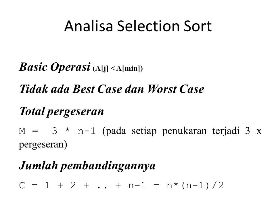 Analisa Selection Sort