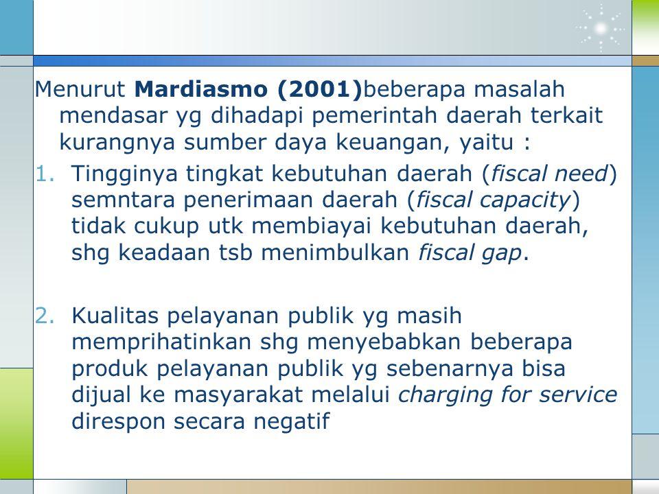Menurut Mardiasmo (2001)beberapa masalah mendasar yg dihadapi pemerintah daerah terkait kurangnya sumber daya keuangan, yaitu :