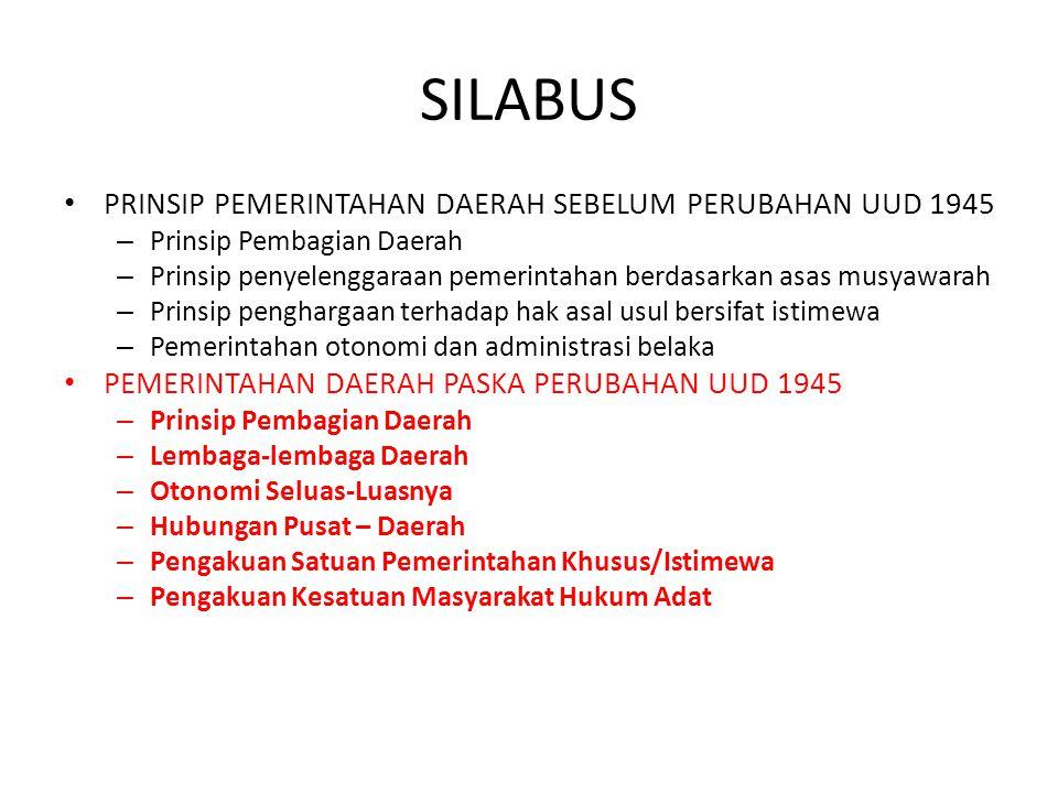 SILABUS PRINSIP PEMERINTAHAN DAERAH SEBELUM PERUBAHAN UUD 1945
