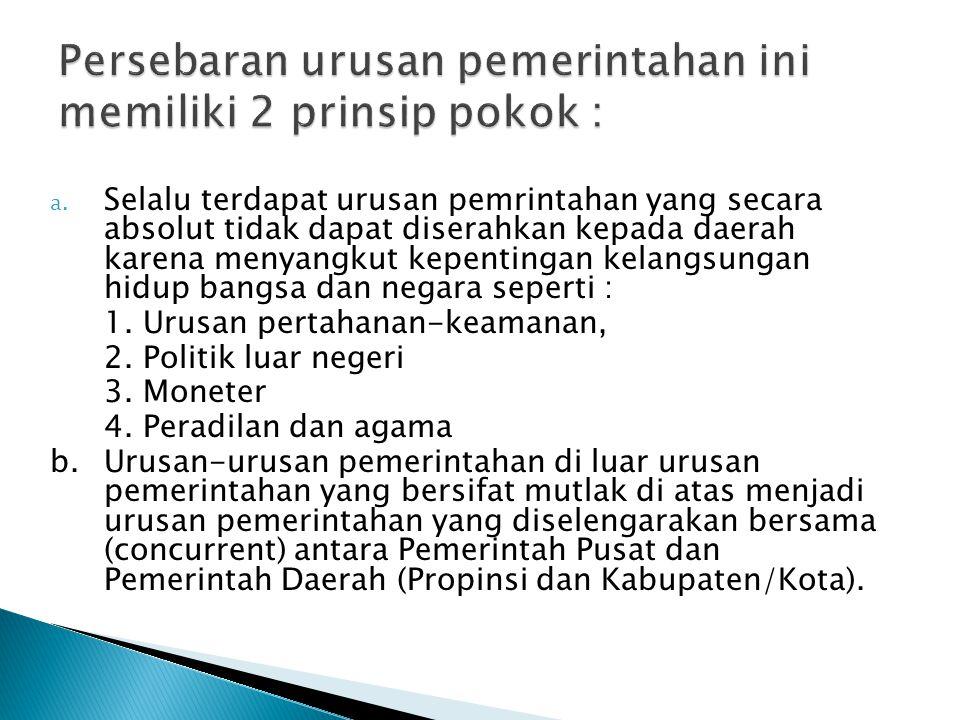 Persebaran urusan pemerintahan ini memiliki 2 prinsip pokok :