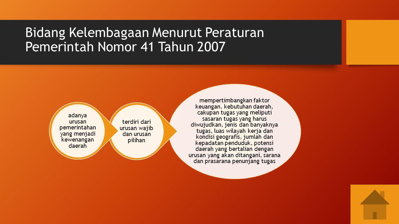 Bidang Kelembagaan Menurut Peraturan Pemerintah Nomor 41 Tahun 2007