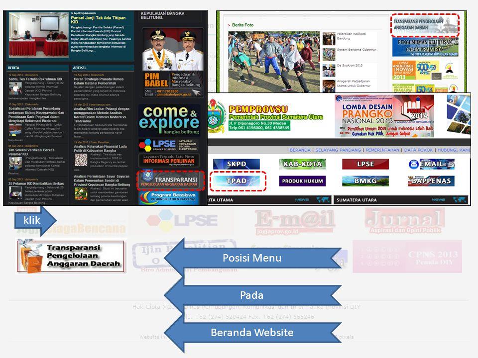 klik Posisi Menu Pada Beranda Website