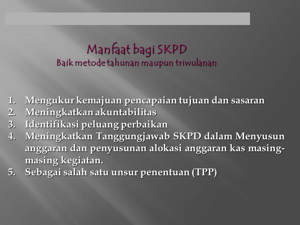 Manfaat bagi SKPD Baik metode tahunan maupun triwulanan
