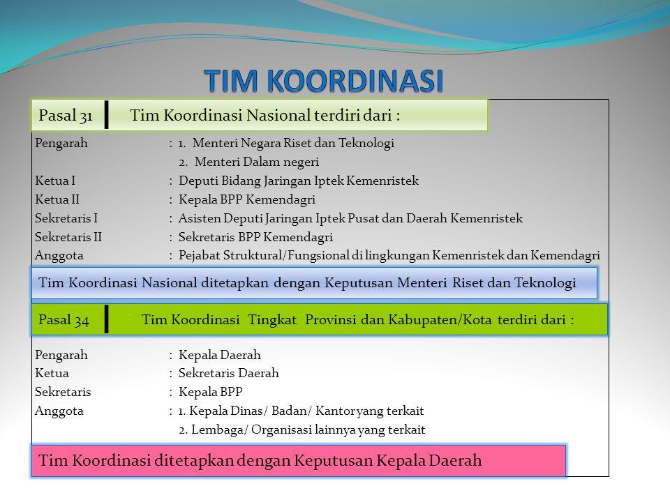 TIM KOORDINASI Pasal 31 Tim Koordinasi Nasional terdiri dari :