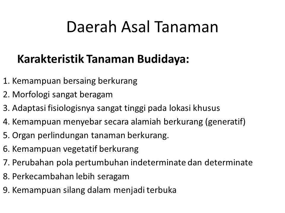 Daerah Asal Tanaman Karakteristik Tanaman Budidaya: