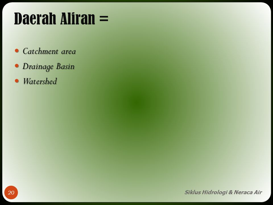 Daerah Aliran = Catchment area Drainage Basin Watershed