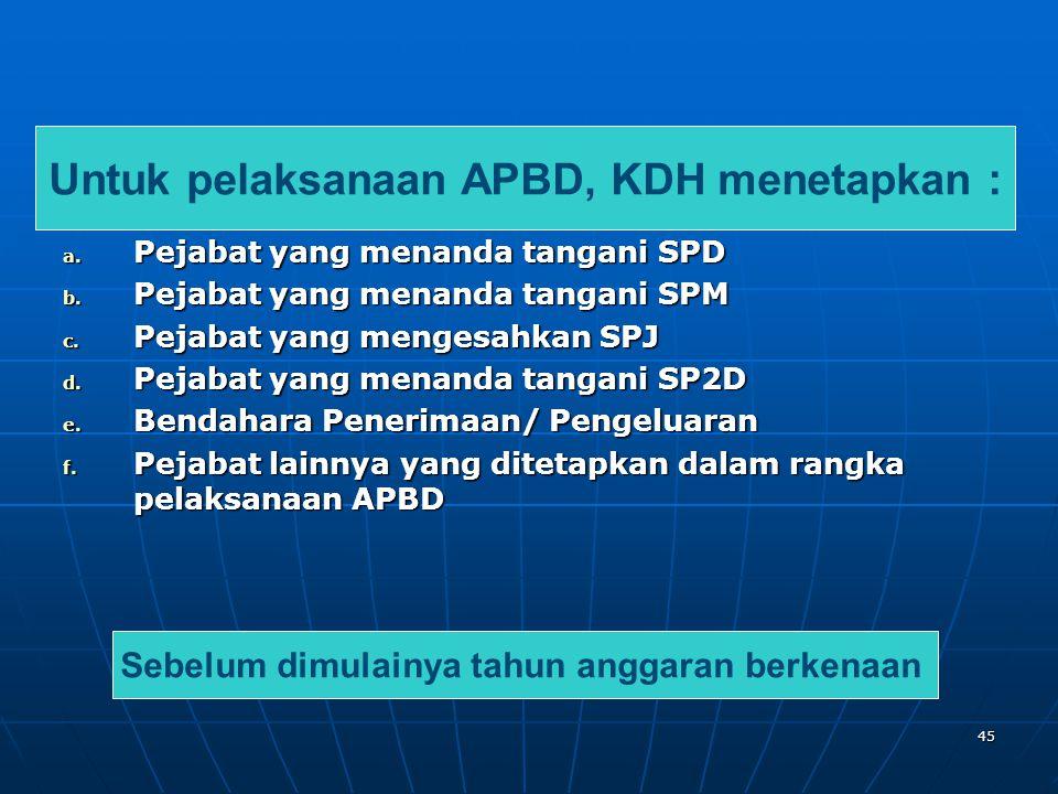 Untuk pelaksanaan APBD, KDH menetapkan :