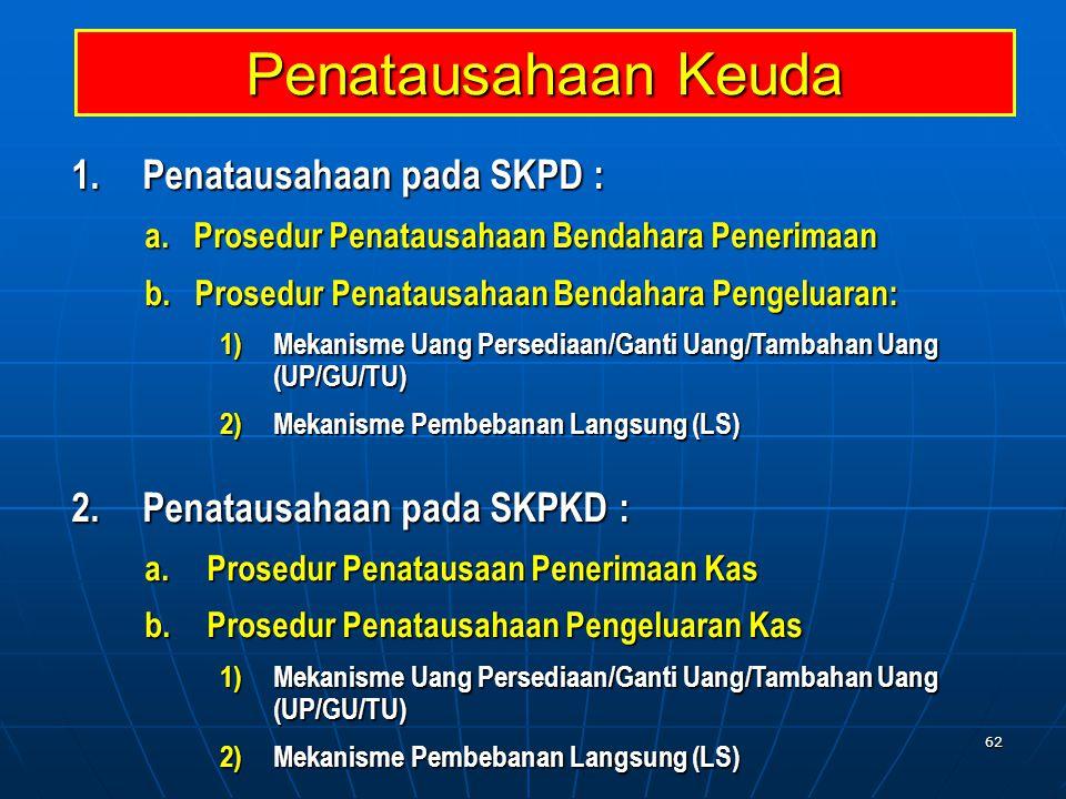 Penatausahaan Keuda Penatausahaan pada SKPD :