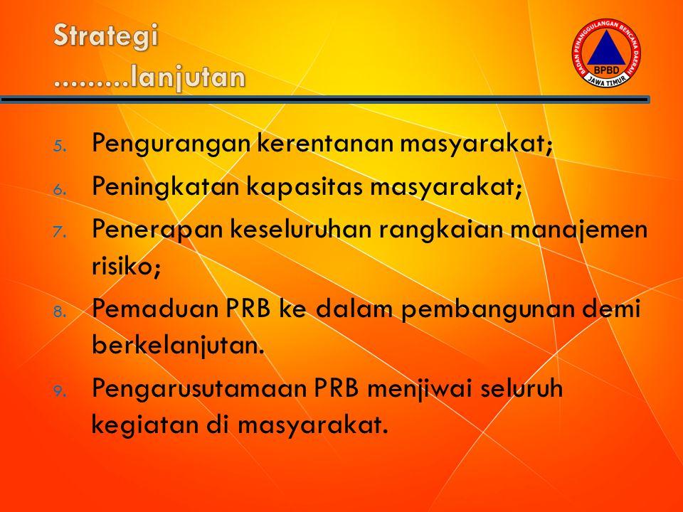 Strategi .........lanjutan Pengurangan kerentanan masyarakat;