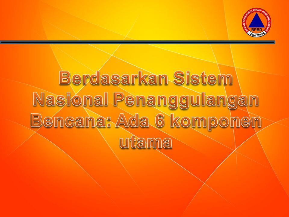 Berdasarkan Sistem Nasional Penanggulangan Bencana: Ada 6 komponen utama