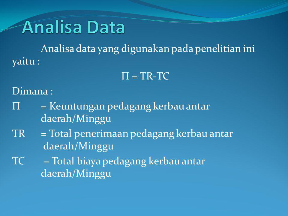 Analisa Data Analisa data yang digunakan pada penelitian ini yaitu :