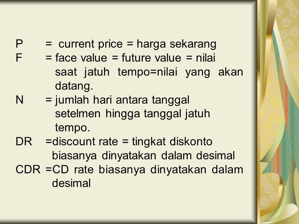 P = current price = harga sekarang