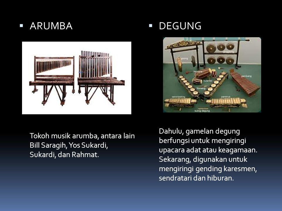 ARUMBA Tokoh musik arumba, antara lain Bill Saragih, Yos Sukardi, Sukardi, dan Rahmat. DEGUNG.