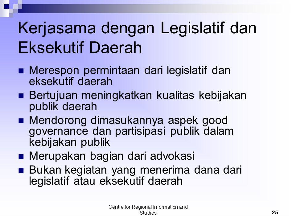 Kerjasama dengan Legislatif dan Eksekutif Daerah