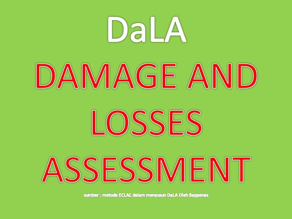 DaLA DAMAGE AND LOSSES ASSESSMENT sumber : metode ECLAC dalam menyusun DaLA Oleh Bappenas