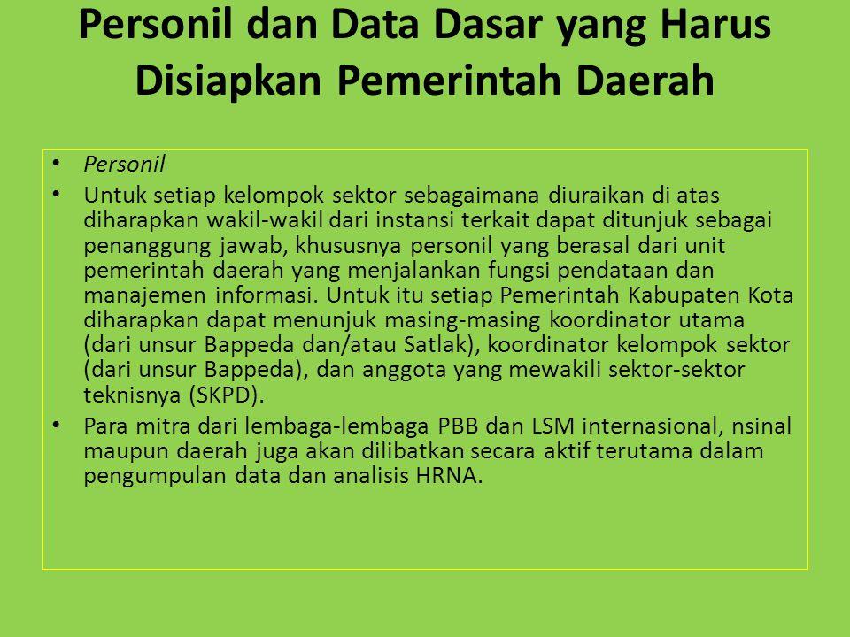 Personil dan Data Dasar yang Harus Disiapkan Pemerintah Daerah