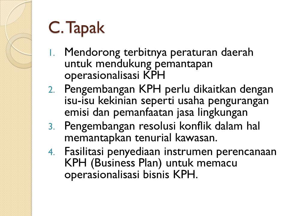 C. Tapak Mendorong terbitnya peraturan daerah untuk mendukung pemantapan operasionalisasi KPH.