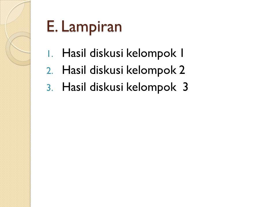 E. Lampiran Hasil diskusi kelompok 1 Hasil diskusi kelompok 2