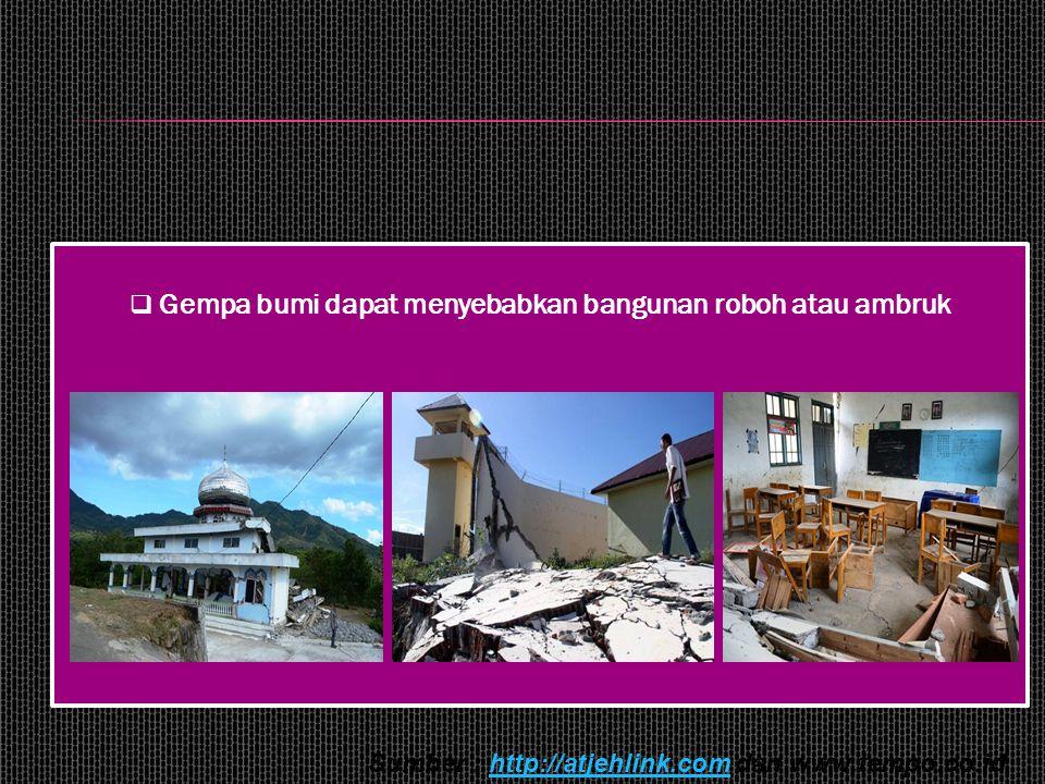 Gempa bumi dapat menyebabkan bangunan roboh atau ambruk