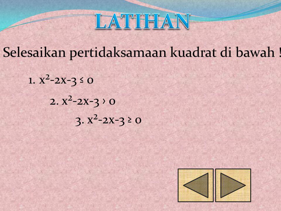 LATIHAN Selesaikan pertidaksamaan kuadrat di bawah ! x²-2x-3 ≤ 0