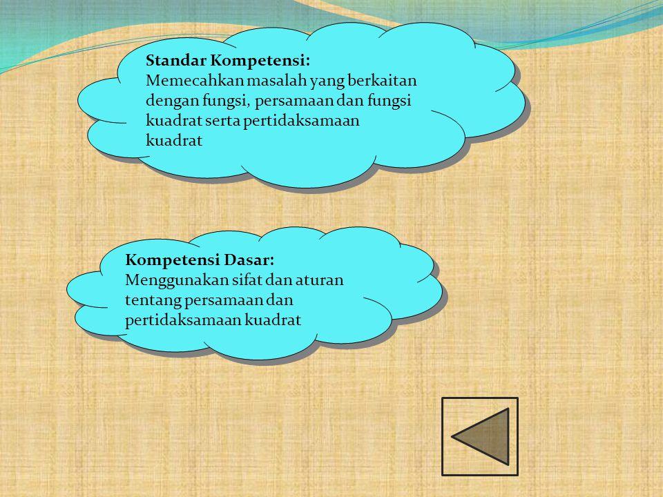 Standar Kompetensi: Memecahkan masalah yang berkaitan dengan fungsi, persamaan dan fungsi kuadrat serta pertidaksamaan kuadrat.
