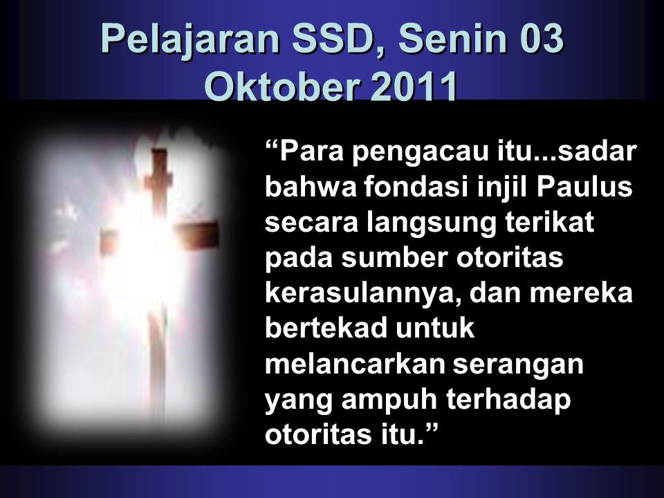 Pelajaran SSD, Senin 03 Oktober 2011