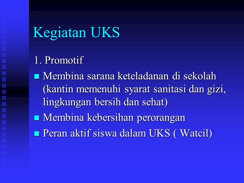 Kegiatan UKS 1. Promotif. Membina sarana keteladanan di sekolah (kantin memenuhi syarat sanitasi dan gizi, lingkungan bersih dan sehat)