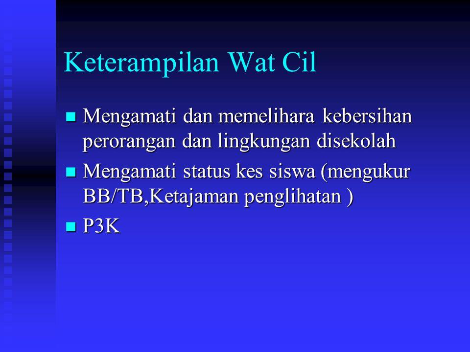 Keterampilan Wat Cil Mengamati dan memelihara kebersihan perorangan dan lingkungan disekolah.
