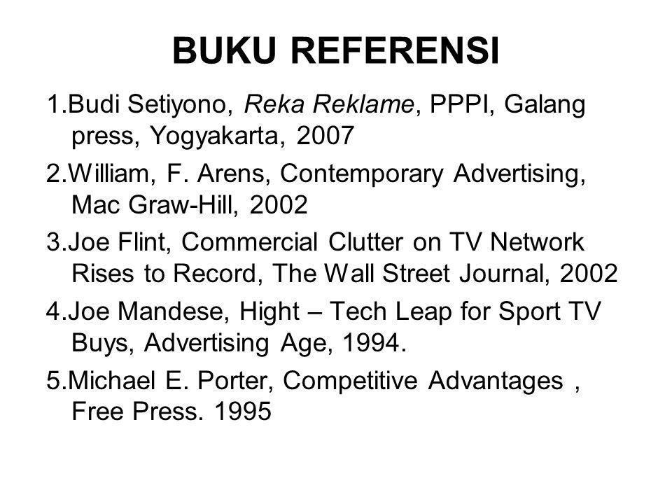BUKU REFERENSI 1.Budi Setiyono, Reka Reklame, PPPI, Galang press, Yogyakarta, 2007.