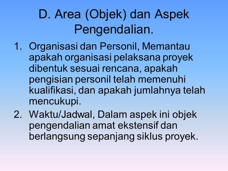 D. Area (Objek) dan Aspek Pengendalian.