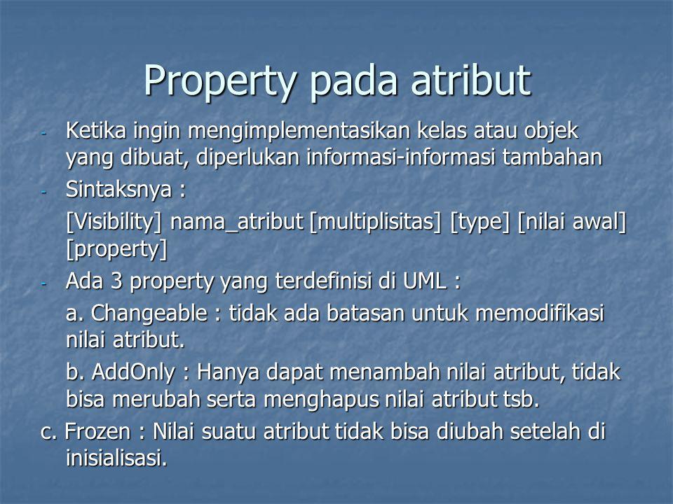 Property pada atribut Ketika ingin mengimplementasikan kelas atau objek yang dibuat, diperlukan informasi-informasi tambahan.