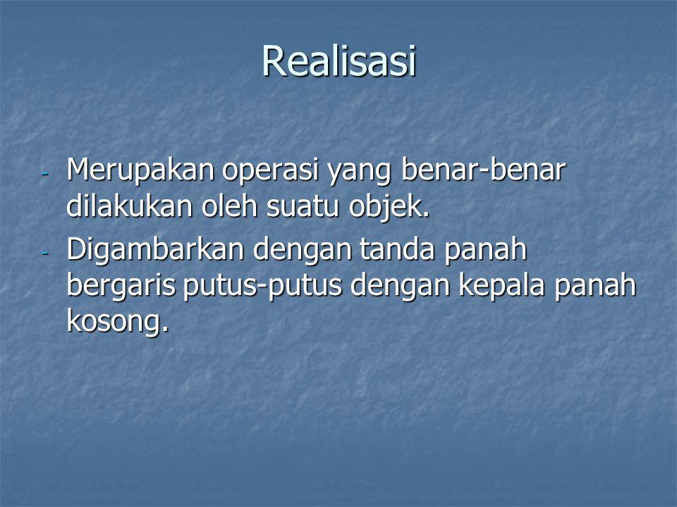 Realisasi Merupakan operasi yang benar-benar dilakukan oleh suatu objek.
