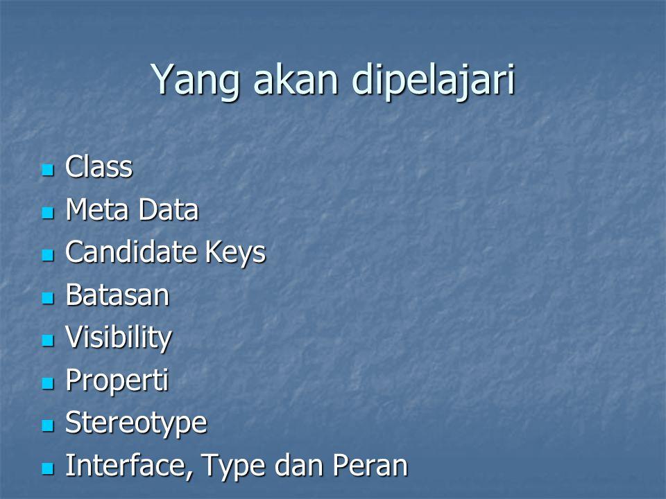 Yang akan dipelajari Class Meta Data Candidate Keys Batasan Visibility