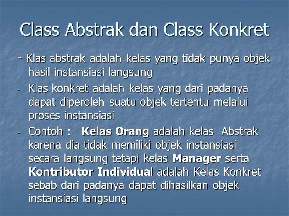 Class Abstrak dan Class Konkret