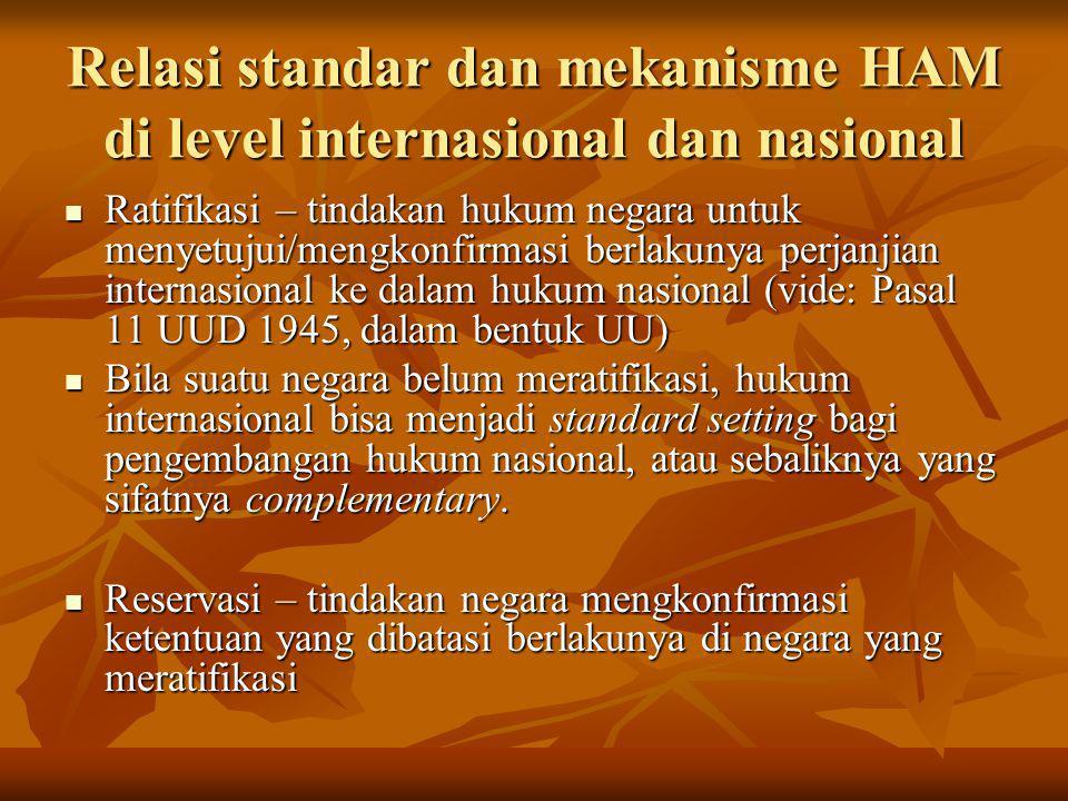 Relasi standar dan mekanisme HAM di level internasional dan nasional