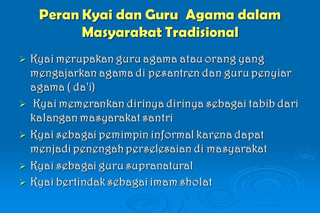 Peran Kyai dan Guru Agama dalam Masyarakat Tradisional