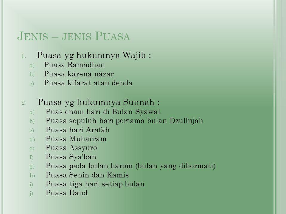 Jenis – jenis Puasa Puasa yg hukumnya Wajib :