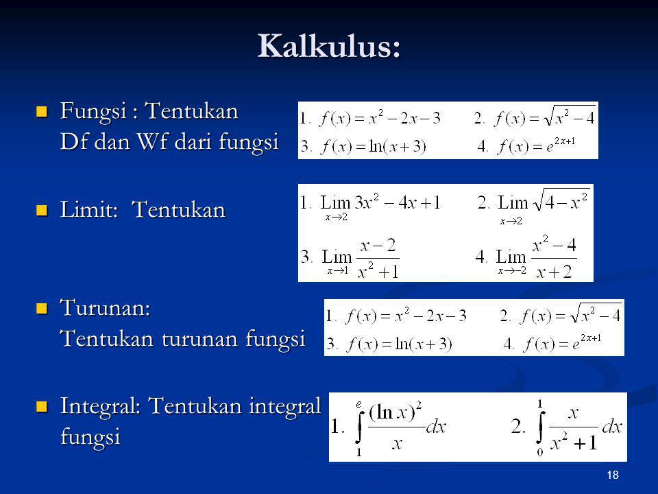 Kalkulus: Fungsi : Tentukan Df dan Wf dari fungsi Limit: Tentukan