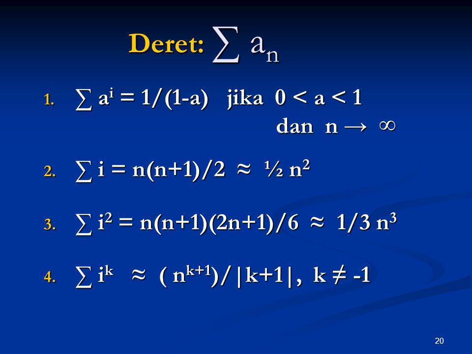 Deret: ∑ an ∑ ai = 1/(1-a) jika 0 < a < 1 dan n → ∞
