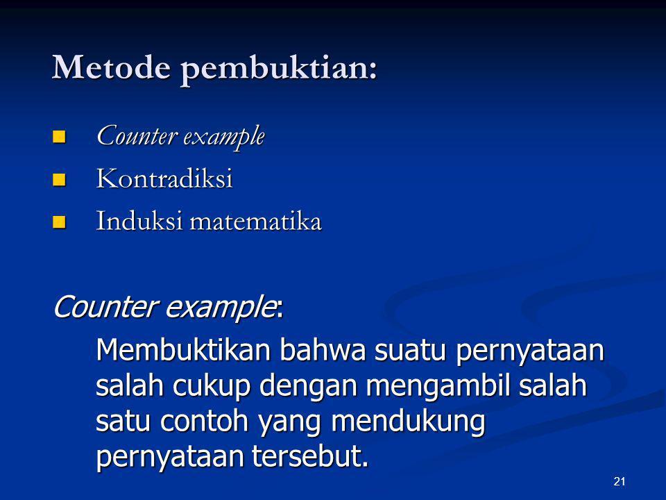 Metode pembuktian: Counter example Kontradiksi Induksi matematika