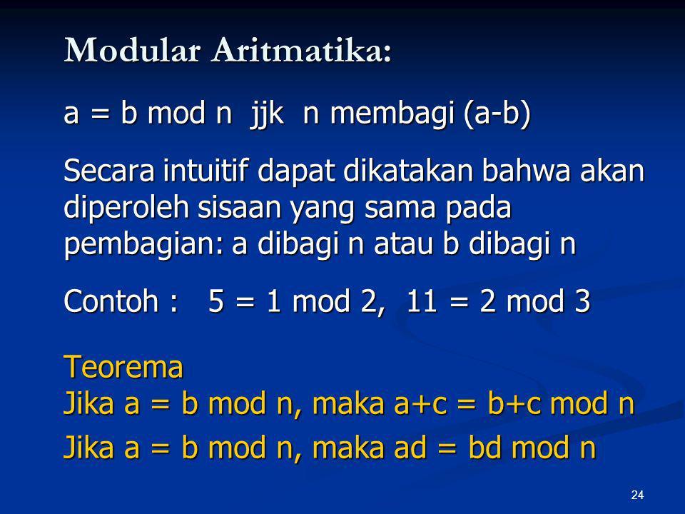 Modular Aritmatika: a = b mod n jjk n membagi (a-b)